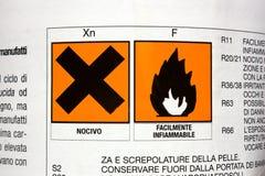 Giftig und feuergefährlich Lizenzfreies Stockfoto