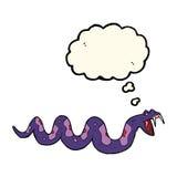 giftige Schlange der Karikatur mit Gedankenblase Lizenzfreie Stockfotografie