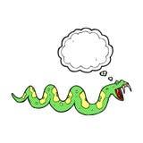 giftige Schlange der Karikatur mit Gedankenblase Stockfotos