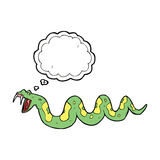 giftige Schlange der Karikatur mit Gedankenblase Lizenzfreie Stockfotos
