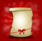 Gifting parchment with ribbon  Royalty Free Stock Photo