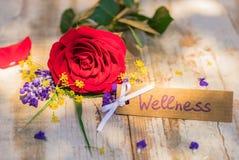 Giftkaart, bon of coupon voor Wellness met romantische bos van bloemen royalty-vrije stock afbeelding