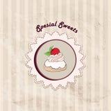 Giftkaart met gebakje. Muffin op servet in retro stijl over stip naadloos patroon. Geplaatste snoepjes. Wijnoogst cupcake backgr Royalty-vrije Stock Foto's