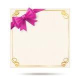 Giftkaart met gouden wervelingskader royalty-vrije illustratie