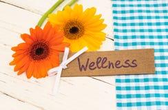 Giftkaart voor de behandeling, de vakantie of het weekend van Wellness met bloemen wordt verfraaid die royalty-vrije stock afbeelding