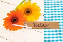 Giftkaart voor Relax als Verjaardag, Valentijnskaarten of Moeders aanwezige dag stock foto's