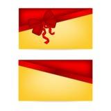 Giftkaarten met linten De kaart van de uitnodiging _1 Stock Foto's