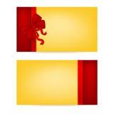 Giftkaarten met linten De kaart van de uitnodiging _1 Stock Fotografie