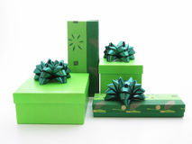 Gifts. Green gifts Stock Photos