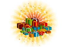 Gifts. On the orange background Royalty Free Stock Photography