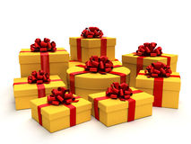 Gifts. Colorfully arrangement of gifts on white background Royalty Free Stock Photography