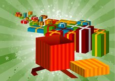 Gifts. Open gift in front the line gifts Stock Images