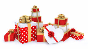 Gifts. The decorated gifts in a red and white paper with gold ornaments Stock Images
