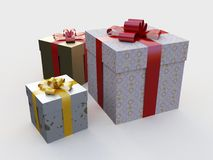 Gifts. There are three boxes with gifts Stock Photos