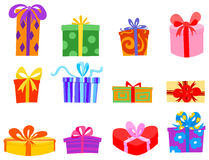 Gifts. Illustration set of Colorful gifts Stock Photo