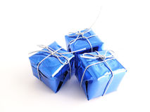 Gifts. Th three small blue Gifts Stock Photography