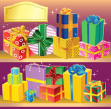 Gifts. On shelves are arranged beautiful colored gifts.Multi-colored packages and boxes tied with ribbons with bows.There is a field for text.Additionally, a Royalty Free Stock Photos