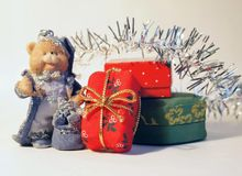 Gifts. A bear and some gifts Royalty Free Stock Images