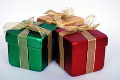 Gifts. Three plastic boxes for presents with ties Stock Images