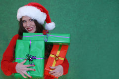 Gifts!. Woman holding gifts royalty free stock photo