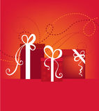 Gifts. Christmas or birthday gifts card vector illustration