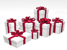 Gifts in 3d over a white background Royalty Free Stock Images