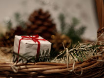 Gifts. Present in a basket Royalty Free Stock Images