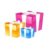 Gifts. Three, colored boxes, presents, 3 presents, illustration, cartoons, cartoon, ribbon Royalty Free Stock Photos