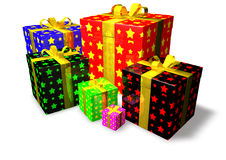Gifts. Isolated colorful gifts wits stars Royalty Free Stock Image