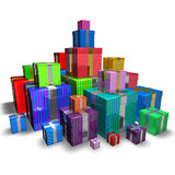 Gifts. 3d image of a lot of colorful gifts Royalty Free Stock Photo
