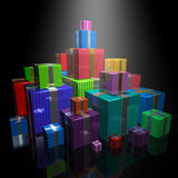Gifts. 3d image of a lot of colorful gifts on black background Stock Image