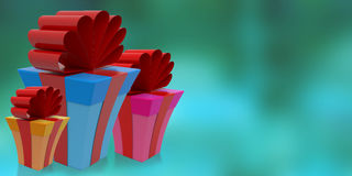 Gifts on abstract background, 3D rendering. Christmas holiday gifts on abstract background in beautiful square boxes on abstract background with drop shadows, 3D Stock Photos