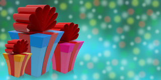 Gifts on abstract background, 3D rendering. Christmas holiday gifts on abstract background in beautiful square boxes on abstract background with drop shadows, 3D Royalty Free Stock Image