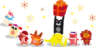 Gifts for the animals. Animals it is preparing a gift Royalty Free Stock Image