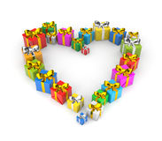 Gifts arranged in shape of a heart Royalty Free Stock Photography