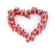 Gifts arranged in shape of heart Royalty Free Stock Image