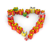 Gifts arranged in shape of heart Royalty Free Stock Photos