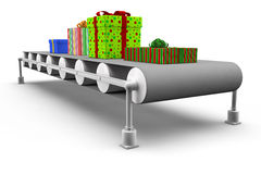 Gifts on assembly line Royalty Free Stock Photos