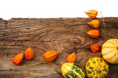 Gifts autumn old board space text Royalty Free Stock Image