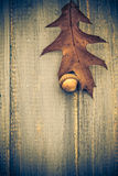Gifts autumn wooden background vintage composition Royalty Free Stock Photos