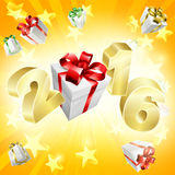 2016 Gifts Background. Background of stars and gifts and 2016 in gold letters flying out. New Year or anything exciting in 2016 concept Stock Image