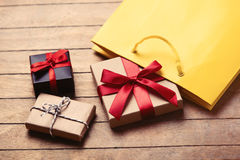 Gifts and bag royalty free stock image