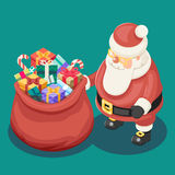 Gifts Bag Cute Isometric 3d Christmas Santa Claus Grandfather Frost Box New Year Cartoon Flat Design Icon Template Stock Photos