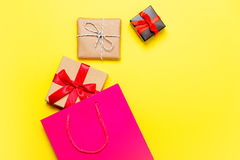 Gifts and bag Royalty Free Stock Images