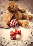 Gifts, ball and teddy bear Royalty Free Stock Images