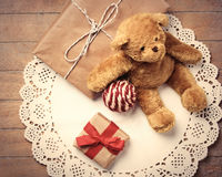 Gifts, ball and teddy bear Stock Image