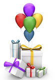 Gifts and balloons Stock Image