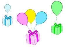 Gifts on balloons. Conceptual illustration with the flying gift boxes on balloons Royalty Free Stock Photography