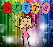 Gifts Balloons Indicates Young Woman And Kids. Gifts Balloons Representing Young Woman And Giftbox Stock Photo