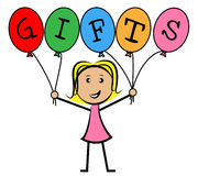 Gifts Balloons Means Young Woman And Kids. Gifts Balloons Showing Greeting Youngsters And Surprise Royalty Free Stock Photos
